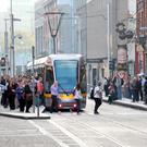 The man was removed from the Luas after he verbally abused a black woman