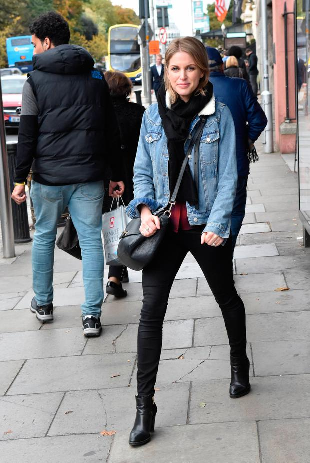 Amy Huberman seen walking close to St Stephen's Green, Dublin. Picture: Cathal Burke / VIPIRELAND.COM