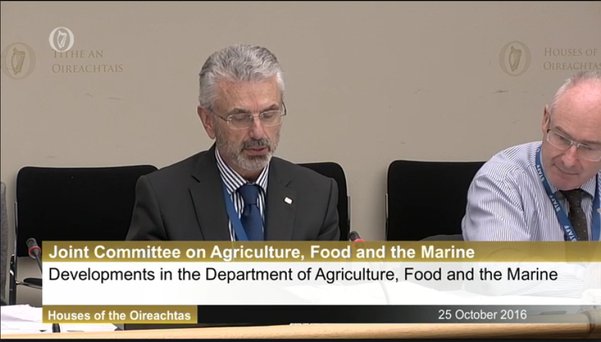 General Secretary of the Department of Agriculture, Food and the Marine Aidan O'Driscoll addressing the Oireachtas Agriculture Committee.