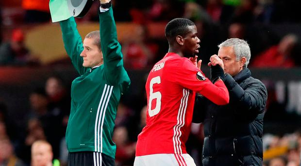 Manchester United's Paul Pogba is congratulated by manager Jose Mourinho after being substituted during the UEFA Europa League match at Old Trafford, Manchester. PRESS ASSOCIATION Photo. Picture date: Thursday October 20, 2016. See PA story SOCCER Man Utd. Photo credit should read: Martin Rickett/PA Wire
