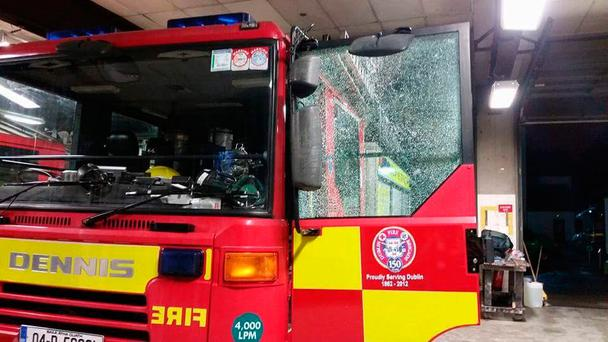 Damage done to a fire truck (Photo: Dublin Fire Brigade)