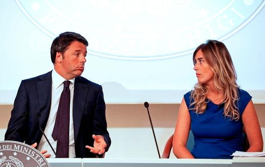 Italian prime minister Matteo Renzi with minister for constitutional reform Maria Elena Boschi. Photo: Max Rossi/Reuters