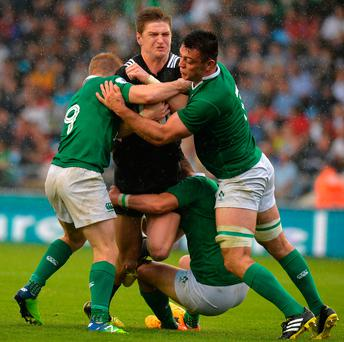 Jordie Barrett, the latest All Blacks superstar, is brought to a halt by Irish trio Stephen Kerins, Ben Betts and Johnny McPhillips during last summer's U-20 World Cup. Photo by Tony Marshall/Getty Images