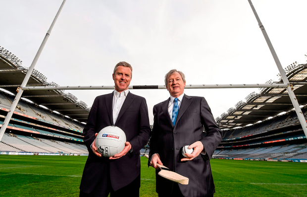 GAA's director general Páraic Duffy (R) with Sky Ireland managing director JD Buckley. Picture credit: Paul Mohan / SPORTSFILE