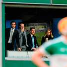 Sky Sports presenters Brian Carney (L) and Rachel Wyse (R) with hurling analysts Jamesie O'Connor and Ollie Canning at the Offaly v Tippeary clash in 2014. Picture credit: Piaras Ó Mídheach / SPORTSFILE