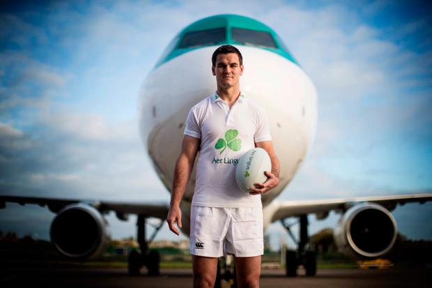 Johnny Sexton fulfilling his duties as an Aer Lingus ambassador at Dublin Airport yesterday. Photo credit ©INPHO/Billy Stickland