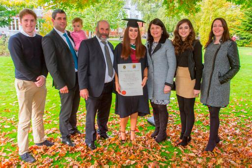 Elaine Healy-Rae with her parents Danny and Eileen, brother Johnny, niece Maggie, sister Niamh, sister-in-law Caroline and boyfriend Kieran O'Shea after she graduated with an arts degree. Pic Michael Mac Sweeney/Provision