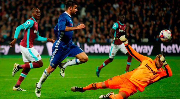 Chelsea's Diego Costa misses a chance at goal during the EFL Cup, round of 16 match at the London Stadium. Photo: Nick Potts/PA Wire