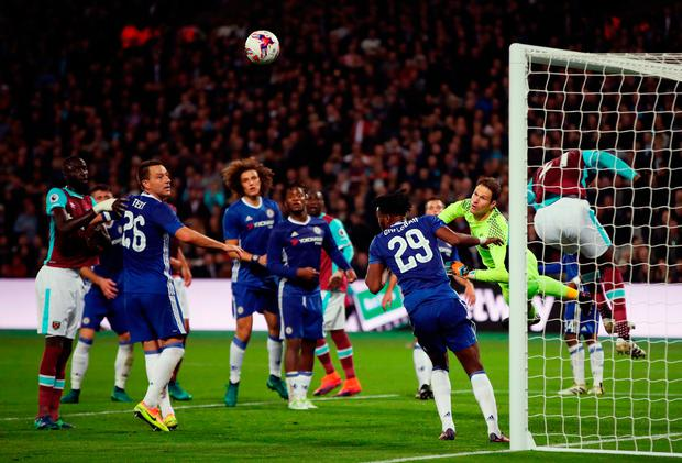 Chelsea goalkeeper Asmir Begovic makes a save. Photo: Nick Potts/PA Wire