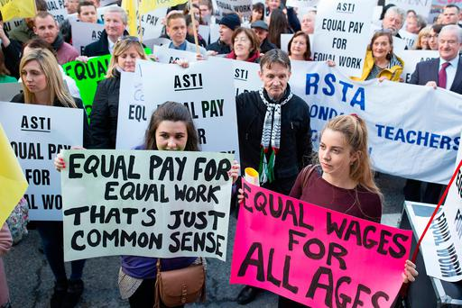 ASTI members protest outside the Dáil last week following a vote on industrial action. Photo: Arthur Carron
