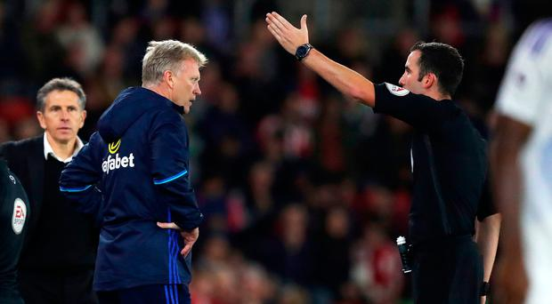 Sunderland manager David Moyes is sent to the stands by referee Chris Kavanagh during the EFL Cup, round of 16 match at St Mary's Stadium, Southampton. Photo: Andrew Matthews/PA Wire