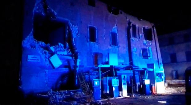 Still image from video shows damaged building after an earthquake in Visso, Italy. Picture: REUTERS/Reuters Tv