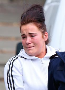 Susan McCarthy,(22), Keyes Park, Limerick photographed outside Limerick Circuit Court, where she had earlier pleaded guilty to stabbing two women in a vicious attack in Parnell St., Limerick