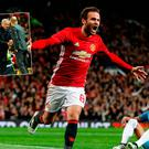 Juan Mata celebrates and (inset) Jose Mourinho