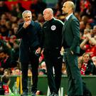 Manchester United manager Jose Mourinho (left) and Manchester City manager Pep Guardiola