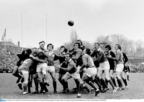 A general view of the action between Ireland and New Zealand in 1973