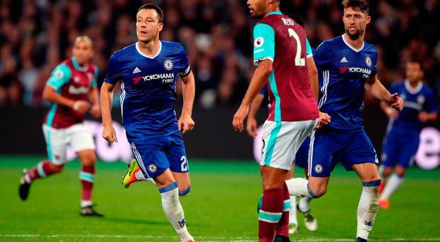 Chelsea's John Terry (left) during the EFL Cup, round of 16 match at the London Stadium