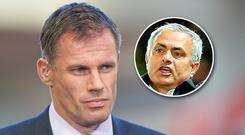 Jamie Carragher and (inset) Jose Mourinho