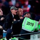 Stewards and police step in as tempers flare in the crowd during the EFL Cup, round of 16 match at the London Stadium last night