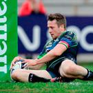 Jack Carty of Connacht goes over to score a try for his side during the European Rugby Champions Cup Pool 2 Round 2 match between Zebre Rugby and Connacht Rugby at Stadio Lanfranchi in Parma. Photo by Roberto Bregani/Sportsfile