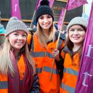 Young teachers Sadhbh McCann, Aoibhheann O'Hare and Rachel Ashfield, all from Dundalk, took part in the TUI and INTO rally about pay inequality outside the Dáil last night. Photo: Tony Gavin