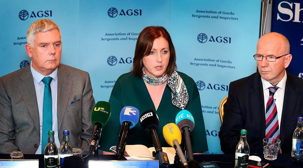 AGSI President Antoinette Cunningham pictured alongside Solicitor Michael Hegarty and John Jacob General Secretary. Negotiations including the AGSI and the Garda Representative Association (GRA) are set to continue today in a bid to avoid all-out strike on four days next month. Pic Steve Humphreys