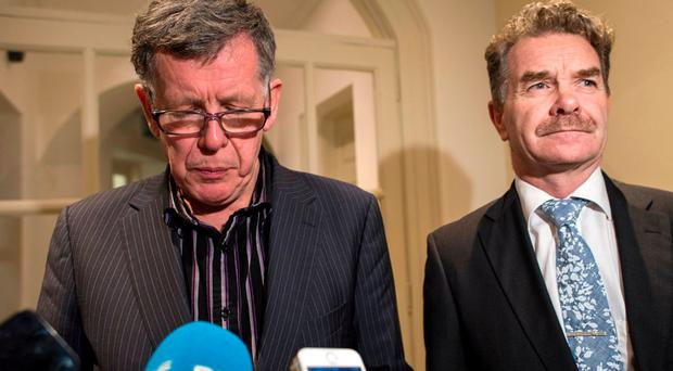 Willie O'Brien, Acting OCI President and Professor Ciaran O'Cathain, Athlone IT President and also President of Athletics Ireland, read out a statement about Deloitte Report.