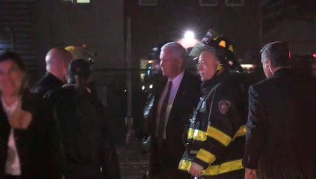 U.S. Republican vice presidential nominee Mike Pence is seen on the tarmac after a plane carrying him skidded off the runway after landing in the rain at New York City's LaGuardia Airport on Thursday, in this still image taken from video October 27, 2016.