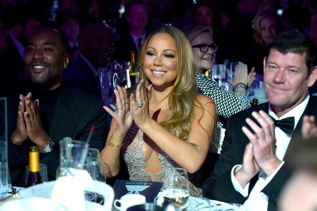 (L-R) Director Lee Daniels, Mariah Carey, and James Packer attend the 27th Annual GLAAD Media Awards in New York on May 14, 2016 in New York City. (Photo by Dimitrios Kambouris/Getty Images for GLAAD)