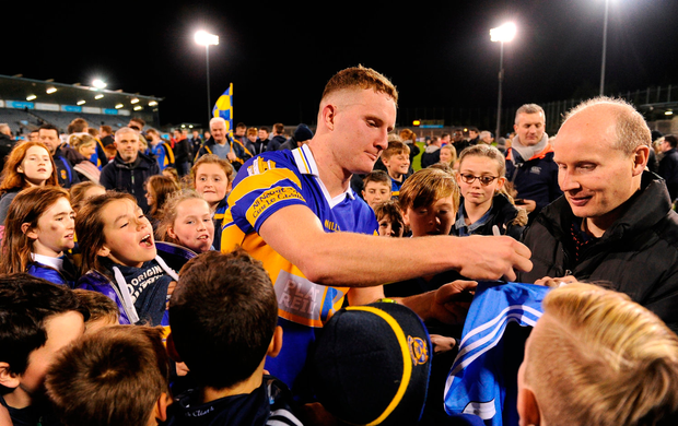 Ciaran Kilkenny of Castleknock signs a jersey for a supporter