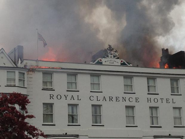 Blaze at 'oldest hotel in England' spreads in city centre as