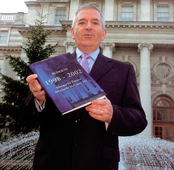 Charlie McCreevy, then Minister for Finance in 2001: 'I remember Charlie McCreevy lamenting the fact that a garda married to a nurse could no longer afford to buy a house' Photo: Tom Burke