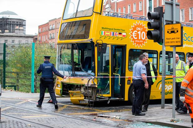 A tour bus and Luas crashed on Lincoln Lane in Smithfield Photo: Mark Condren