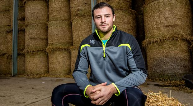 Canterbury ambassador Robbie Henshaw pictured at the Ultimate Farm Challenge at Abbeyfield Farm. Competition winners were selected to take part on the day and they were kitted out with Canterbury training wear, which can be viewed online at www.canterbury.com