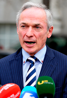 Education Minister Richard Bruton talks to the media about the second-level school strike Photo: Tom Burke