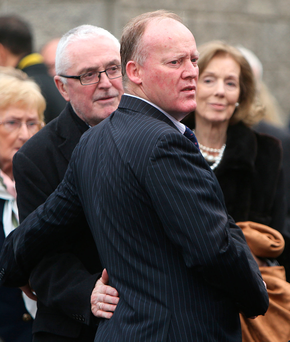 Conor Lenihan arrives at the Our Lady Mother of the Church in Castleknock for his mother's funeral Photo: Damien Eagers
