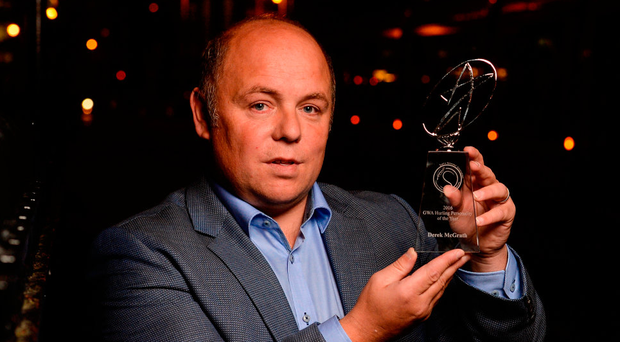 Waterford manager Derek McGrath with his Hurling Personality Award at the Gaelic Writers Awards last night at the Jackson Court Hotel in Dublin. Photo: Sportsfile