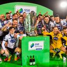 Dundalk players pose for photographs after lifting the SSE Airtricity Premier Division trophy. Photo by David Maher/Sportsfile