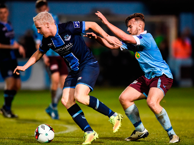 Drogheda United's Sean Thornton in action against Craig Donnellan of Cobh Ramblers. Photo by Matt Browne/Sportsfile