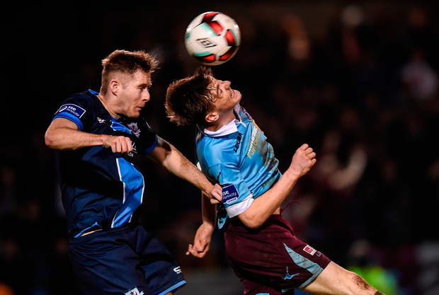 Kevin Farragher of Drogheda United in action against Matthew Whelan of Cobh Ramblers. Photo by Matt Browne/Sportsfile