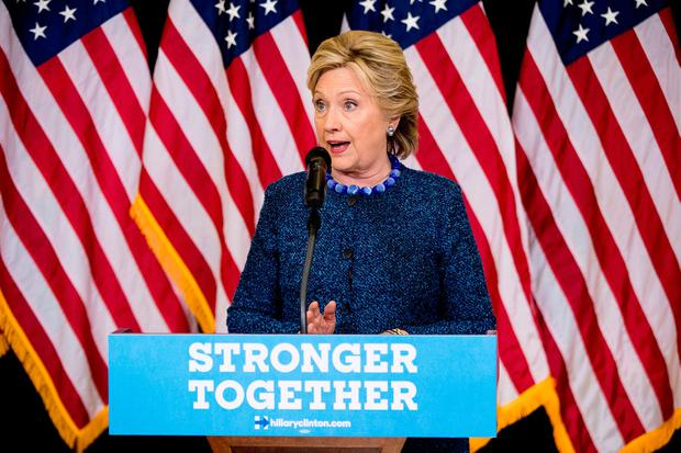 Democratic presidential candidate Hillary Clinton speaks at a news conference at Theodore Roosevelt High School in Des Moines, Iowa, Friday, Oct. 28, 2016. (AP Photo/Andrew Harnik)