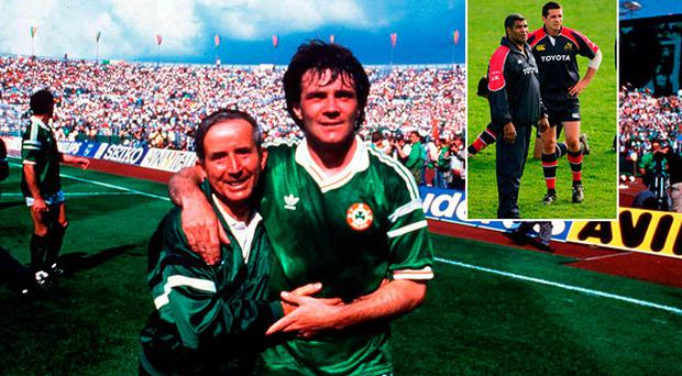 Ray Houghton celebrates after beating England in 88 and (inset) Alan Quinlan with Jim Williams