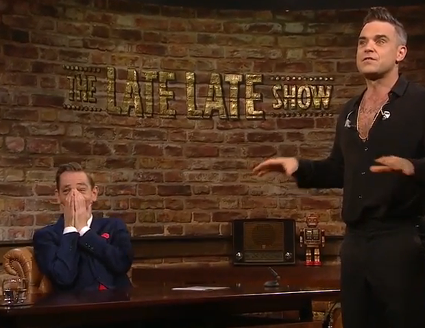 Robbie Williams with host Ryan Tubridy on The Late Late Show. Picture: The Late Late Show/ RTE One
