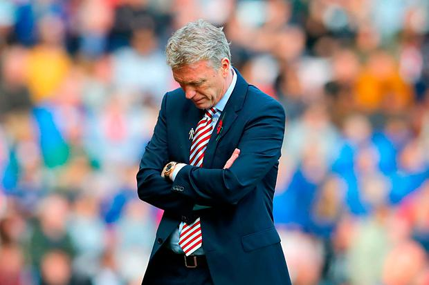 Sunderland manager David Moyes on the touchline during the Premier League match at the Stadium of Light