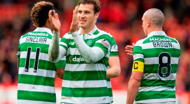 Celtic's Erik Sviatchenko celebrates his side's victory