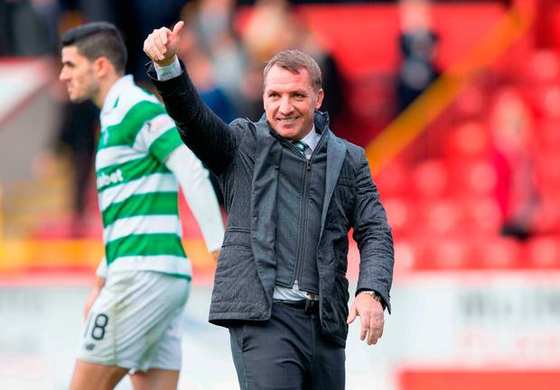 Celtic Manager Brendan Rodgers celebrates his side's victory