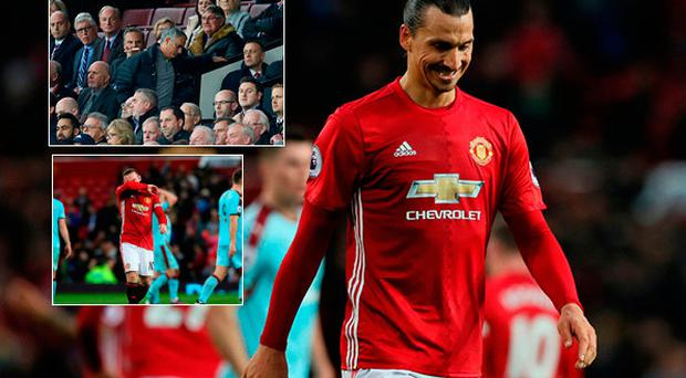Zlatan Ibrahimovic dejected and (left, top) Mourinho in the stands and (left, bottom) Rooney after the 0-0 draw