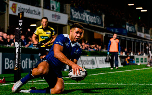 Adam Byrne of Leinster scores his side's first try