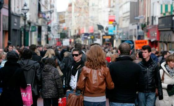 Shoppers on Dublin's Grafton Street — but retailers fear there will be significantly less footfall on the streets this Christmas