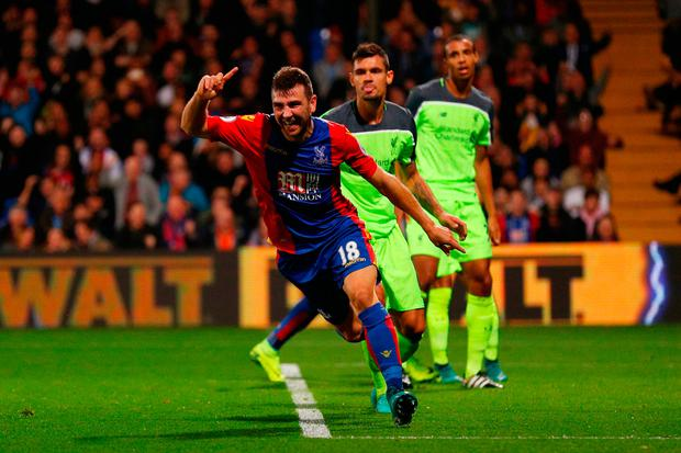 James McArthur of Crystal Palace celebrates scoring his team's second goal. Photo by Ian Walton/Getty Images